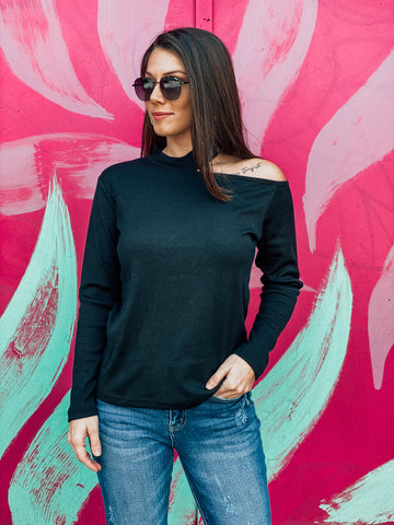 Black Choker Cold Shoulder Top
