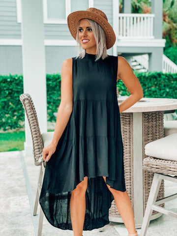 Black High Low Tiered Dress