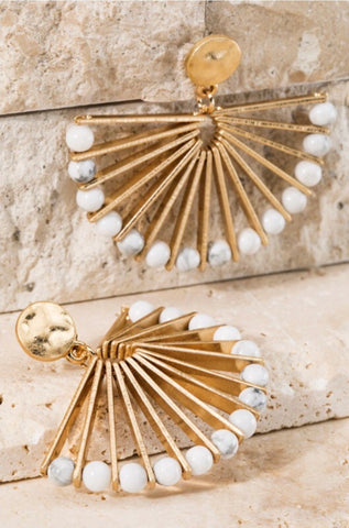 Off White Fan Dangle Earrings