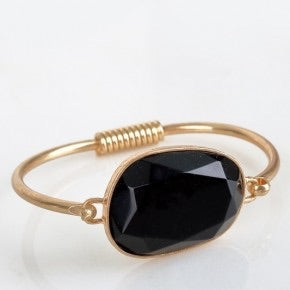 Cat Eye Natural Stone Accented Bracelet Black