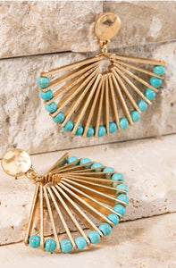 Turquoise Fan Dangle Earrings