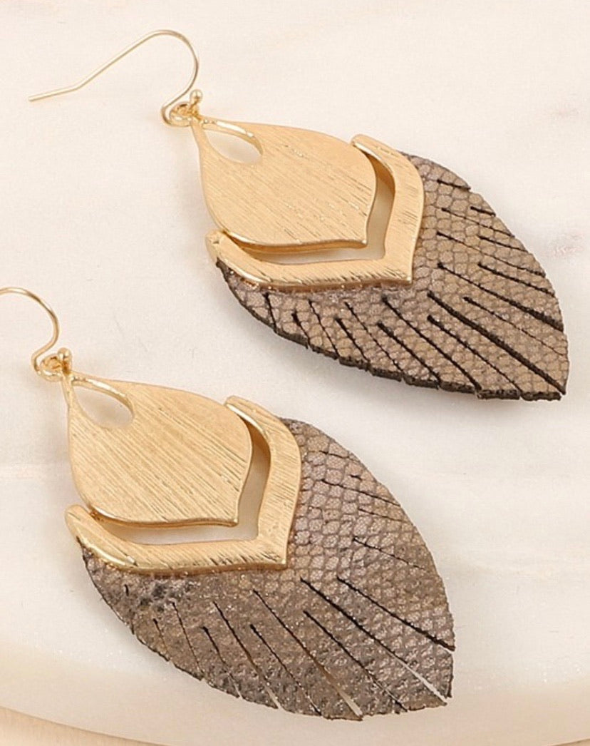 Brown & Gold Feather Earrings
