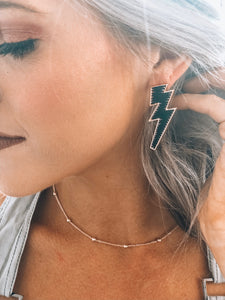 Black Lightning Bolt Earrings