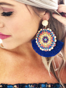 Blue Round Starburst Earrings