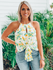 Yellow Floral print loose tie top