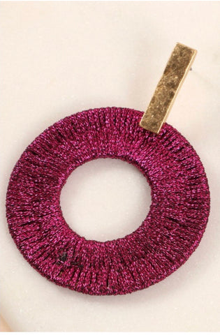Fuschia Metallic Thread Wrapped Earrings