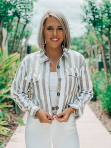 Tan Stripe Linen Button Up Crop Jacket