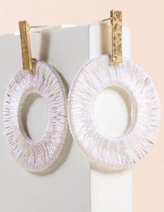 White Metallic Thread Wrapped Earrings