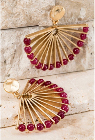 Burgundy Fan Dangle Earrings