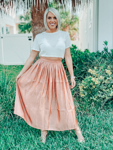 Apricot Pleated Maxi Skirt