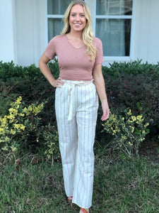 Mauve Striped Pants