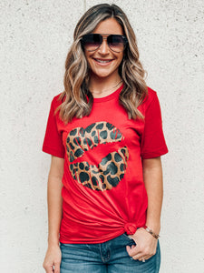 Red Leopard Lip Graphic Tee