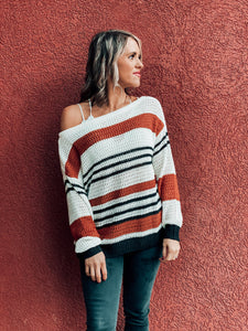 Caramel Color Block Knit Sweater