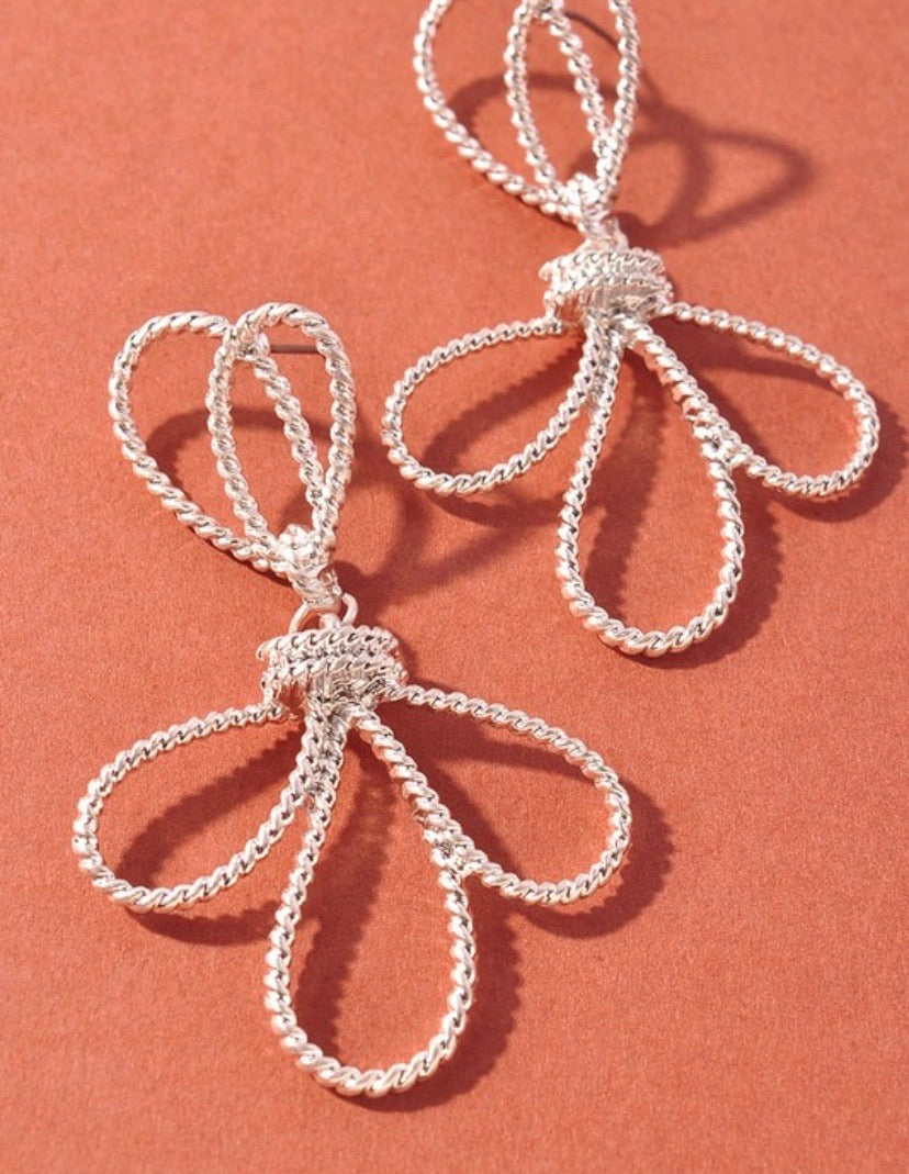 Silver Flower Power Dainty Earrings