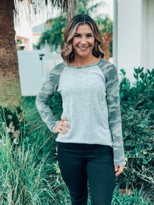 Grey Round Neck Camo Sleeve Top
