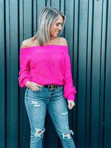 Hot Pink Off Shoulder Balloon Sleeve Sweater