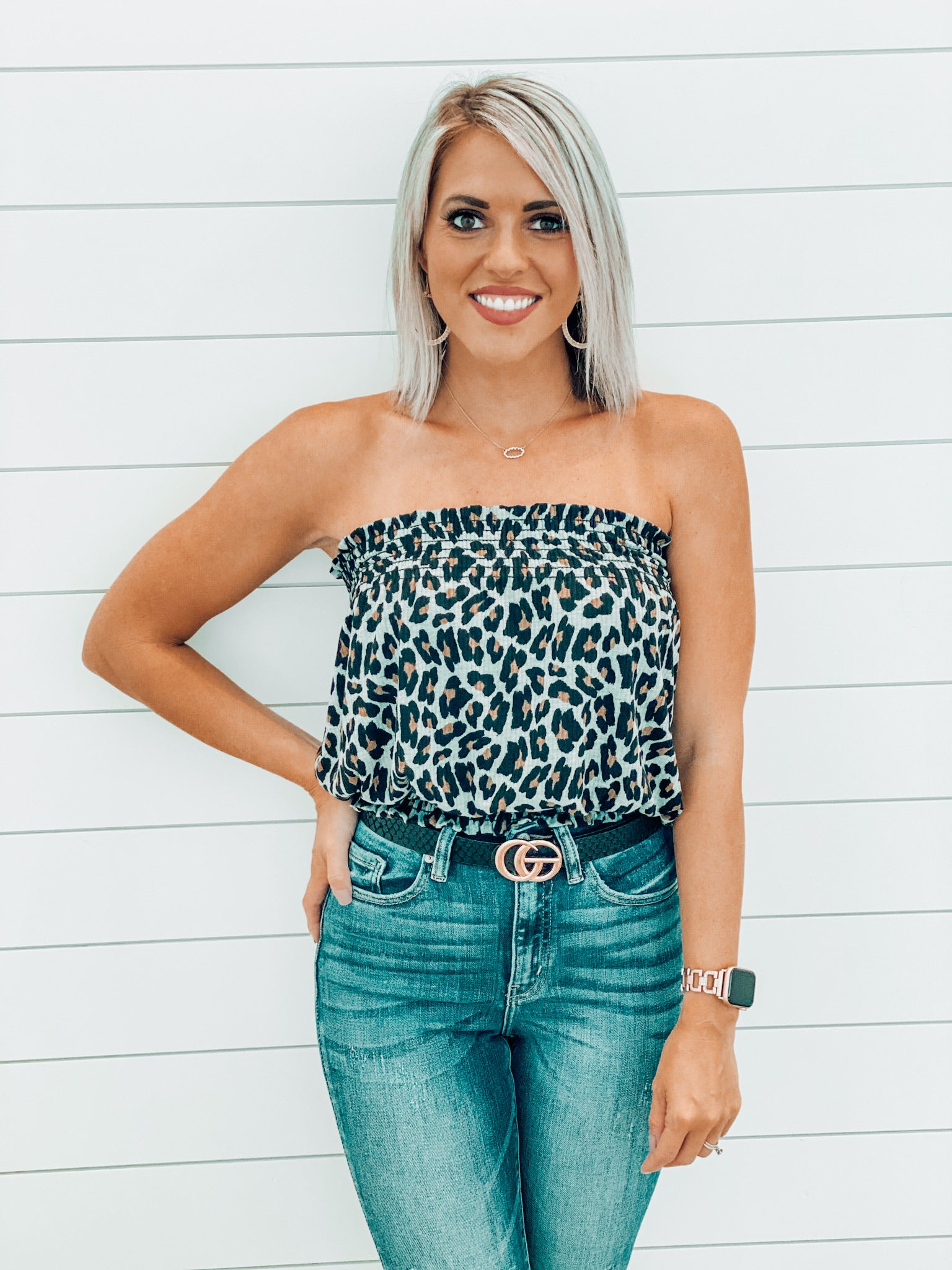 Grey Leopard Smocked Tube Top