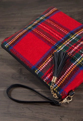 Red Plaid Crossbody Clutch