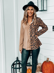Long Sleeve Two Tone Leopard Shirt