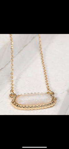 Gold White Sparkle Oval Necklace