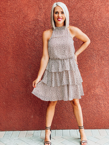 Taupe Smocked Halter Neck Tiered Dress