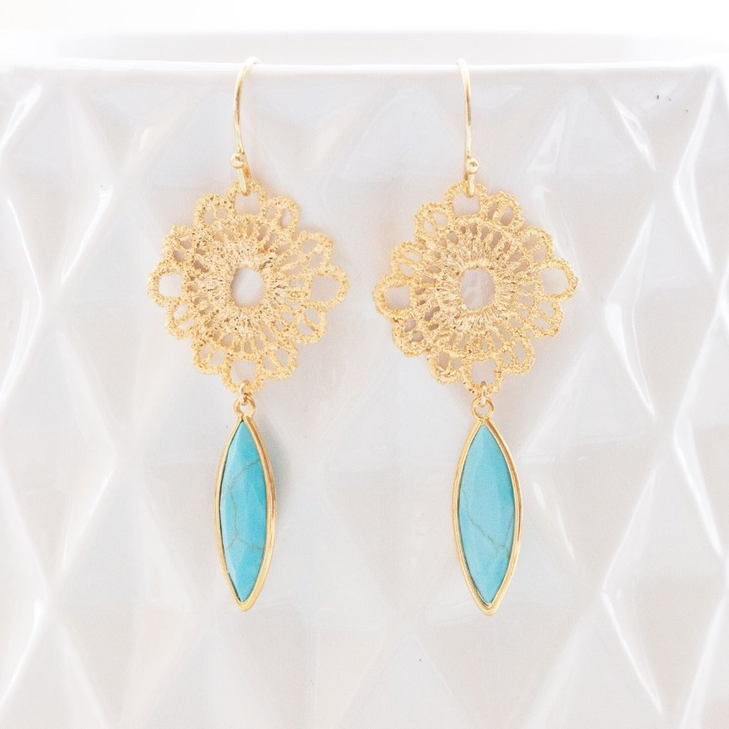 Turquoise and Gold Lace Earrings