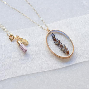 Pressed Lavender Essential Blooms Necklace