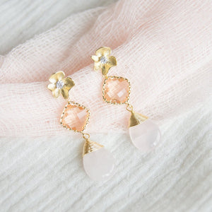 Flowers and Champagne Earrings