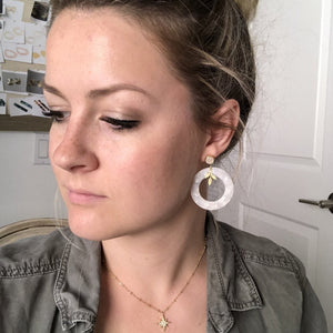White Tortoiseshell Druzy and Leaf Earrings