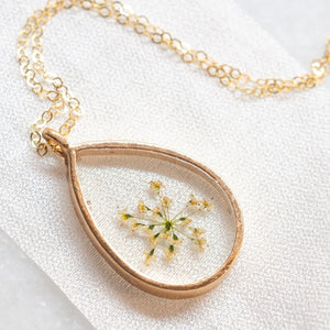 Pressed Queen Anne's Lace Necklace