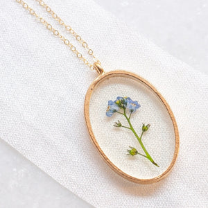 Oval Pressed Forget Me Not Necklace
