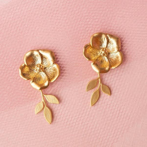 Flower and Leaf Earrings