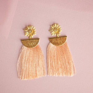 Pink Flower and Tassel Earrings
