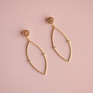 Rosé and Leaf Earrings