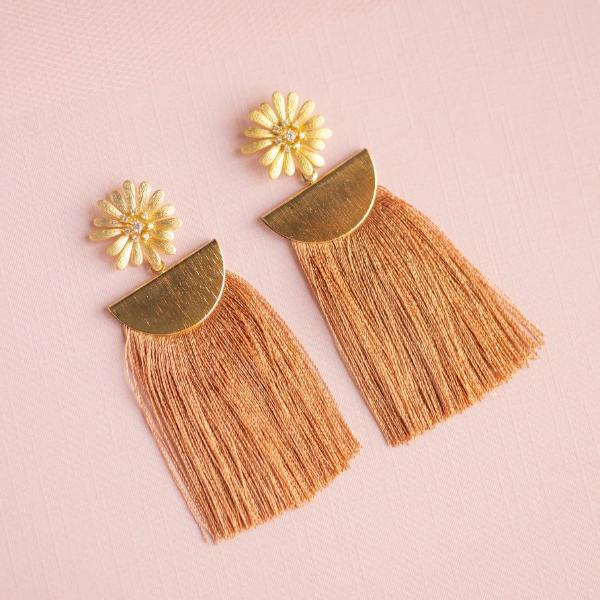 Burnt Orange Flower and Tassel Earrings