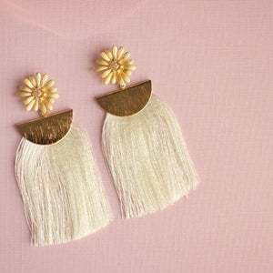 White Flower and Tassel Earrings