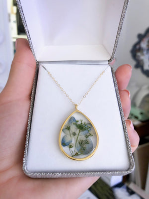 Custom Pressed Flower Essential Blooms Necklace