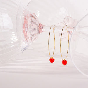 Red Hearts Large Hoops
