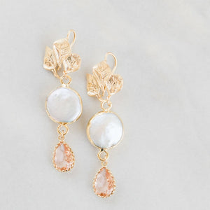 Leaves Pearls and Pink Earrings