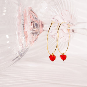 Red Hearts Medium Hoops