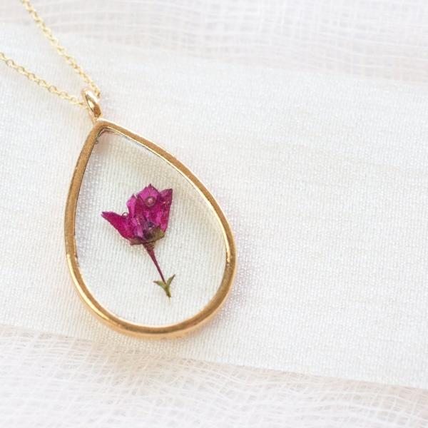 Pressed Pink Boronia Essential Blooms Necklace