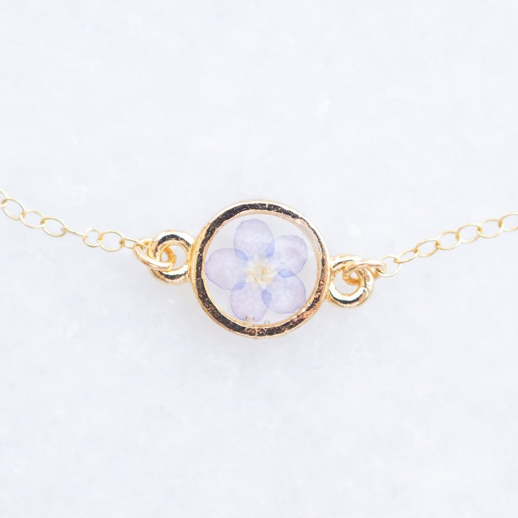 Dainty Pressed Forget-Me-Not Flower Bracelet