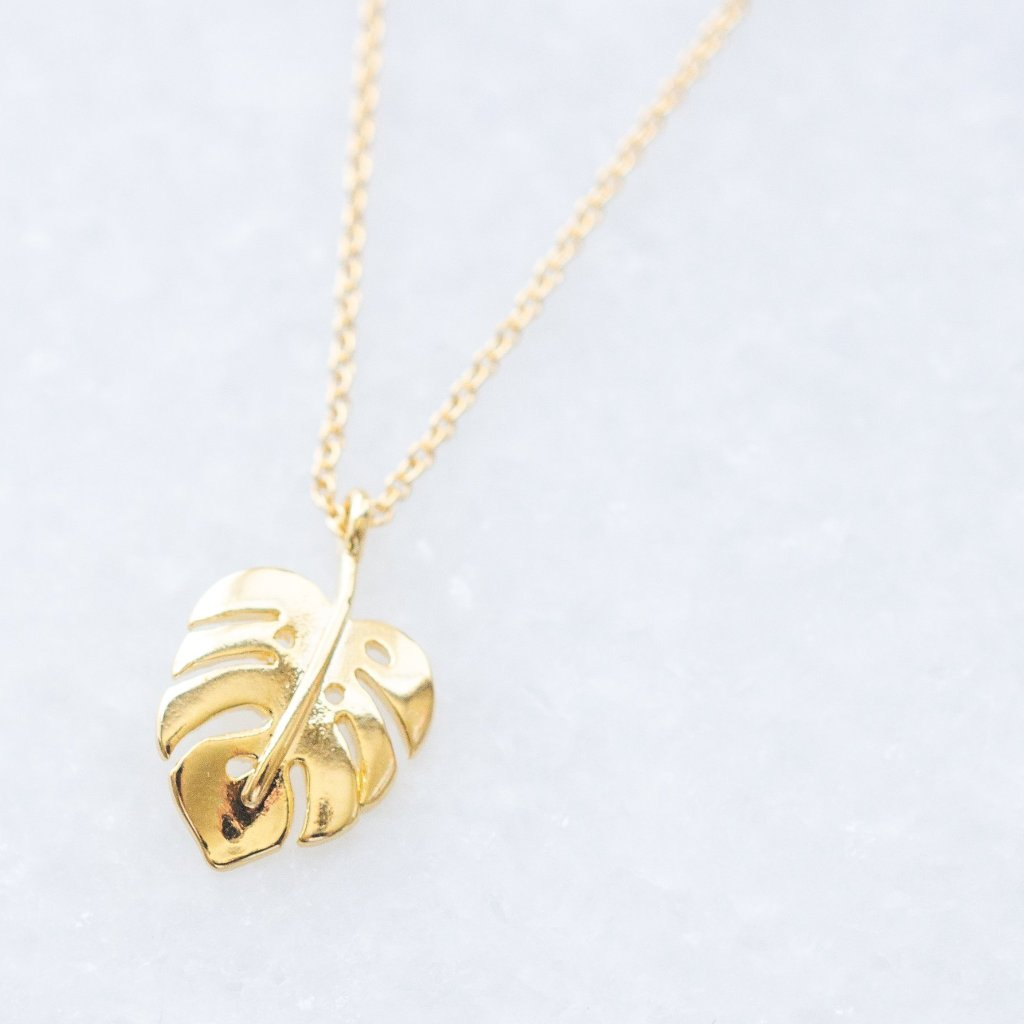 Dainty Gold Palm Leaf Necklace
