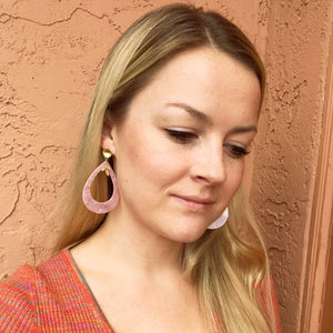 Pink Tortoiseshell and Leaf Earrings