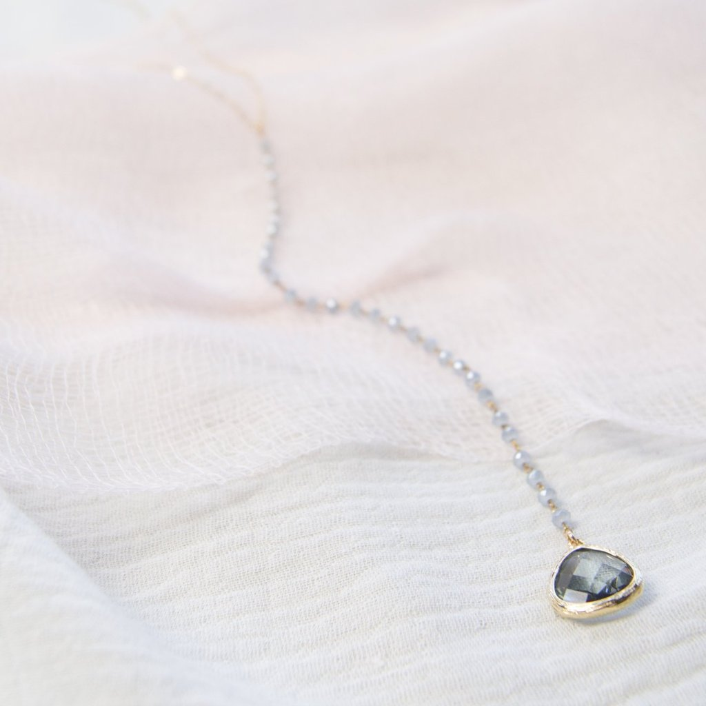 Grey Drop Necklace