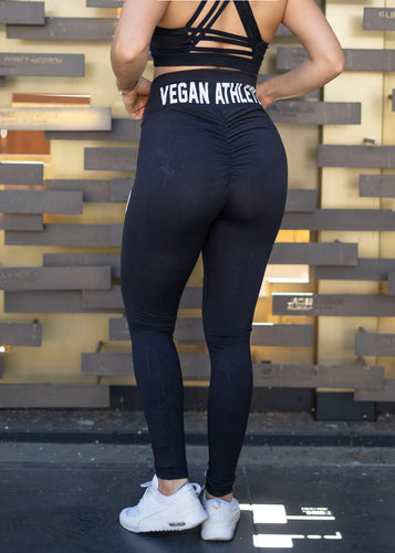 VEGAN ATHLETE BLACK SCRUNCH BOOTY LEGGINGS