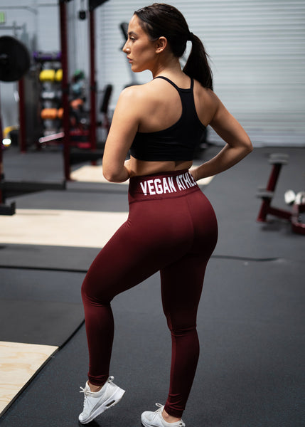 VEGAN ATHLETE BURGUNDY LEGGINGS