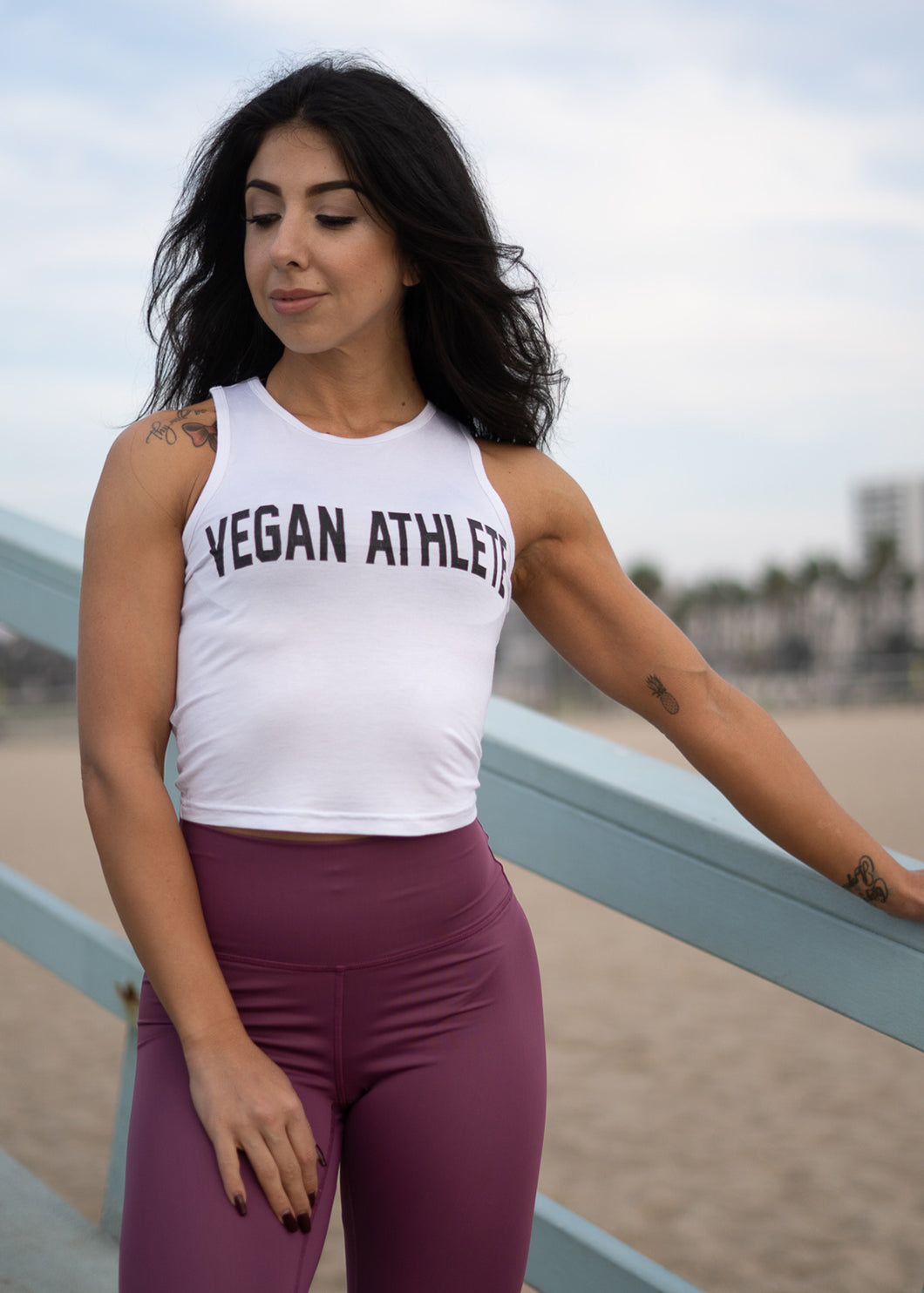 WHITE VEGAN ATHLETE TANK TOP