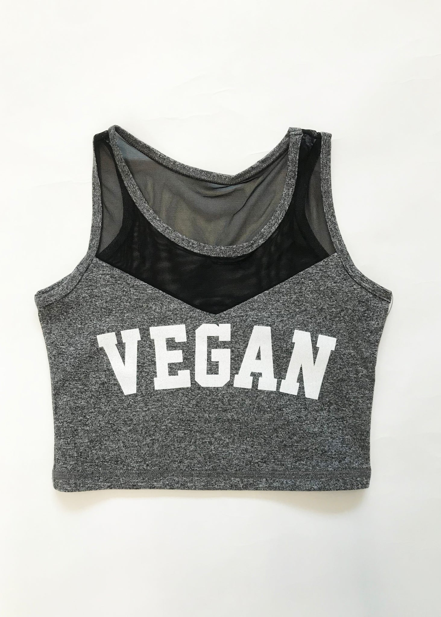 STEEL GREY VEGAN CROP TOP
