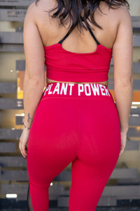 PLANT POWER RED MESH LEGGINGS